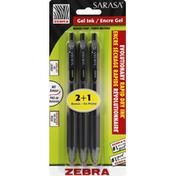 Zebra Gel Retractable Pen, Medium Point, 0.7 mm, Black Ink
