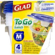 Glad To Go Lunch Medium Round Containers & Lids - 4 CT