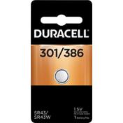 Duracell Battery, Silver Oxide, 301/386, 1.5V