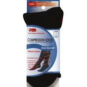 Md Socks, Compression, Over the Calf, Seamless Toe, Large, Black