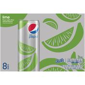 Pepsi Soda, Diet, Lime, 8 Pack
