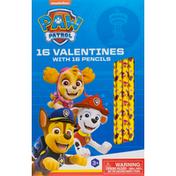 Paw Patrol Valentines, with Pencils, 3+