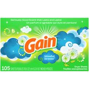 Gain Fabric Softener Dryer Sheets, Blissful Breeze