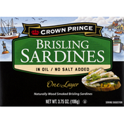 Crown Prince Sardines, in Oil/No Salt Added, Brisling, One Layer