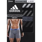adidas Men's Sport Performance Mesh Boxer Briefs – 3 Pack - L - Black/Onix/Black