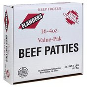 Flanders Beef Patties, Value-Pak