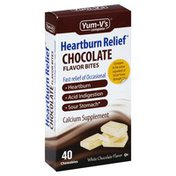 Yum Vs Chocolate Flavor Bites, Heartburn Relief, White Chocolate Flavor, Chewables