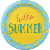 Party Creations Plates, Summer Sayings Hello Summer, 6-7/8 Inch