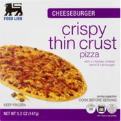 Food Lion Pizza, Crispy, Thin Crust, Cheeseburger, Box