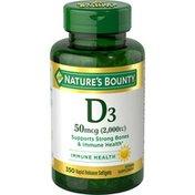 Nature's Bounty Vitamin D3, 50 mcg, Rapid Release Softgels