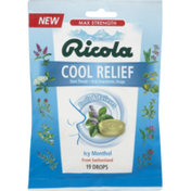 Ricola Cool Relief, Max Strength, Icy Menthol, Drops, Pouch