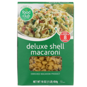 Food Club Enriched Macaroni Product, Deluxe Shell Macaroni
