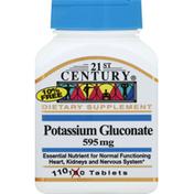 21st Century Foods Potassium Gluconate, 595 mg, Tablets
