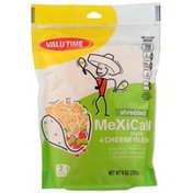 Valu Time Shredded Mexican Style 4 Cheese Blend Of Monterey Jack, Cheddar, Quesadilla & Asadero Cheeses