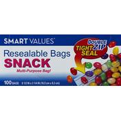 Smart Values Resealable Bags, Snack, Double Zip