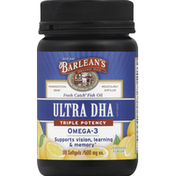 Barlean's Ultra DHA, Triple Potency, 500 mg, Softgel, Lemonade Flavor