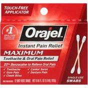 Orajel Maximum Toothache & Oral Pain Relief Swabs, 12 Count