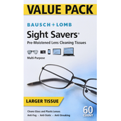 Bausch & Lomb Lens Cleaning Tissues, Pre-Moistened, Larger, Value Pack