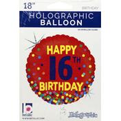 Betallic Balloon, Happy 16th Birthday, Holographic, 18 Inch