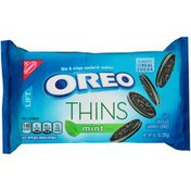 Oreo Thins Chocolate Sandwich Cookies, Mint Flavored Creme, 1 Resealable Pack