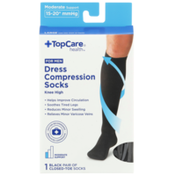 TopCare Moderate Support Dress Black Closed-Toe Knee High Compression Socks For Men, Large