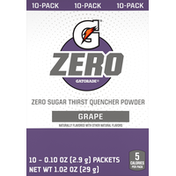Gatorade Thirst Quencher Powder, Zero Sugar, Grape, 10 Pack