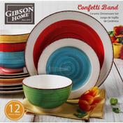 Gibson Home Dinnerware Set, Ceramic, Confetti Band