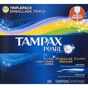 Tampax Pearl Plastic Triplepack, Unscented Tampons,  Feminine Care