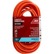 Ace Power Cord, 3-Outlet, Medium Duty, Outdoor, 50 Feet