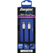 Energizer Charge Cable, Type-C to Type-C, Metal Tips