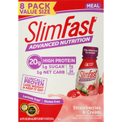 SlimFast Meal Replacement Shake, Strawberries & Cream, Value Size, 8 Pack