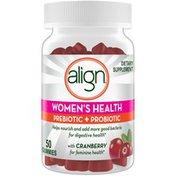 Align Women's Prebiotic + Probiotic Supplement Gummies, Cranberry Flavored,