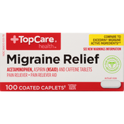 TopCare Migraine Relief Acetaminophen Pain Reliever, Aspirin (Nsaid) And Caffeine Pain Reliever Aid Coated Caplets