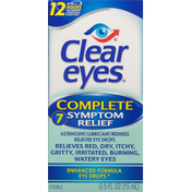 Clear Eyes Complete 7 Symptom Relief Astringent/Lubricant/Redness Reliever Eye Drops