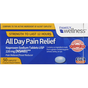 Family Wellness Pain Relief, All Day, 220 mg, Caplets