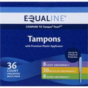 Equaline Tampons, Plastic Applicator, Multi-Pack, Unscented