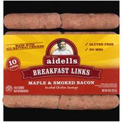 Aidells Smoked Chicken Sausage, Maple & Smoked Bacon, Breakfast Links