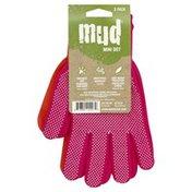 Mud Gloves, Hot Pink/Coral, Mini Dot, Medium, 2 Pack