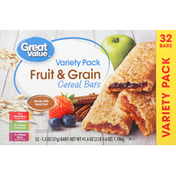 Great Value Cereal Bars, Fruit & Grain, Variety Pack