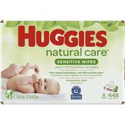 Huggies Natural Care Sensitive Baby Wipes, Unscented, 8 Flip-Top Packs (