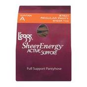 L'eggs Sheer Energy Pantyhose Active Support Regular Panty Sheer Toe A Suntan