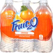 Fruit 2 O Purified Water Beverage, Orange, 6 Pack