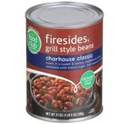 Food Club Firesides, Charhouse Classic Grill Style Beans In A Sweet & Savory Steakhouse Sauce Seasoned With Brown Sugar, Bell Pepper & Onion