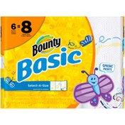 Bounty Basic Bounty Basic Select-A-Size Paper Towels, Spring Print, 6 Big Rolls = 8 Regular Rolls Towels/Napkins