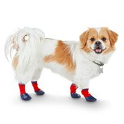 Good2 Go Small Red & Navy Weatherized Rubber Dipped Sole Dog Socks
