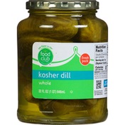 Food Club Pickles, Kosher Dill, Whole