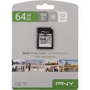 Pny Flash Card, SDXC, High Performance, 64 GB