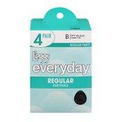 L'eggs Everyday Regular Pantyhose B Sheer Toe Off Black - 4 CT