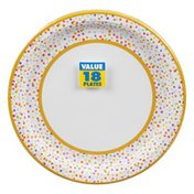 Amscan Plates, Rainbow Confetti, 10.5 Inch