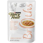 Purely Fancy Feast Broths Classic With Wild Salmon & Vegetables Wet Cat Food